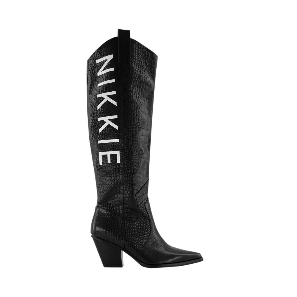 NIKKIE Djana Western Boots  leren cowboylaarzen crocoprint zwart, Zwart/wit