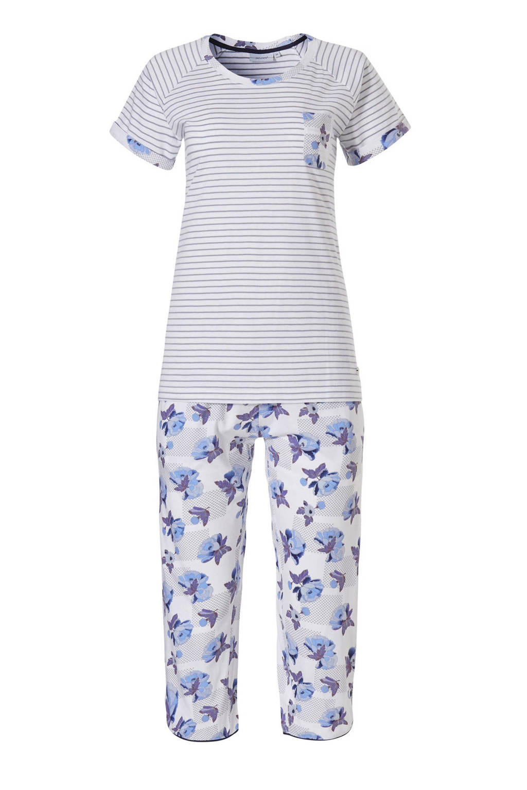 Pastunette pyjama met all over print blauw, Blauw/wit