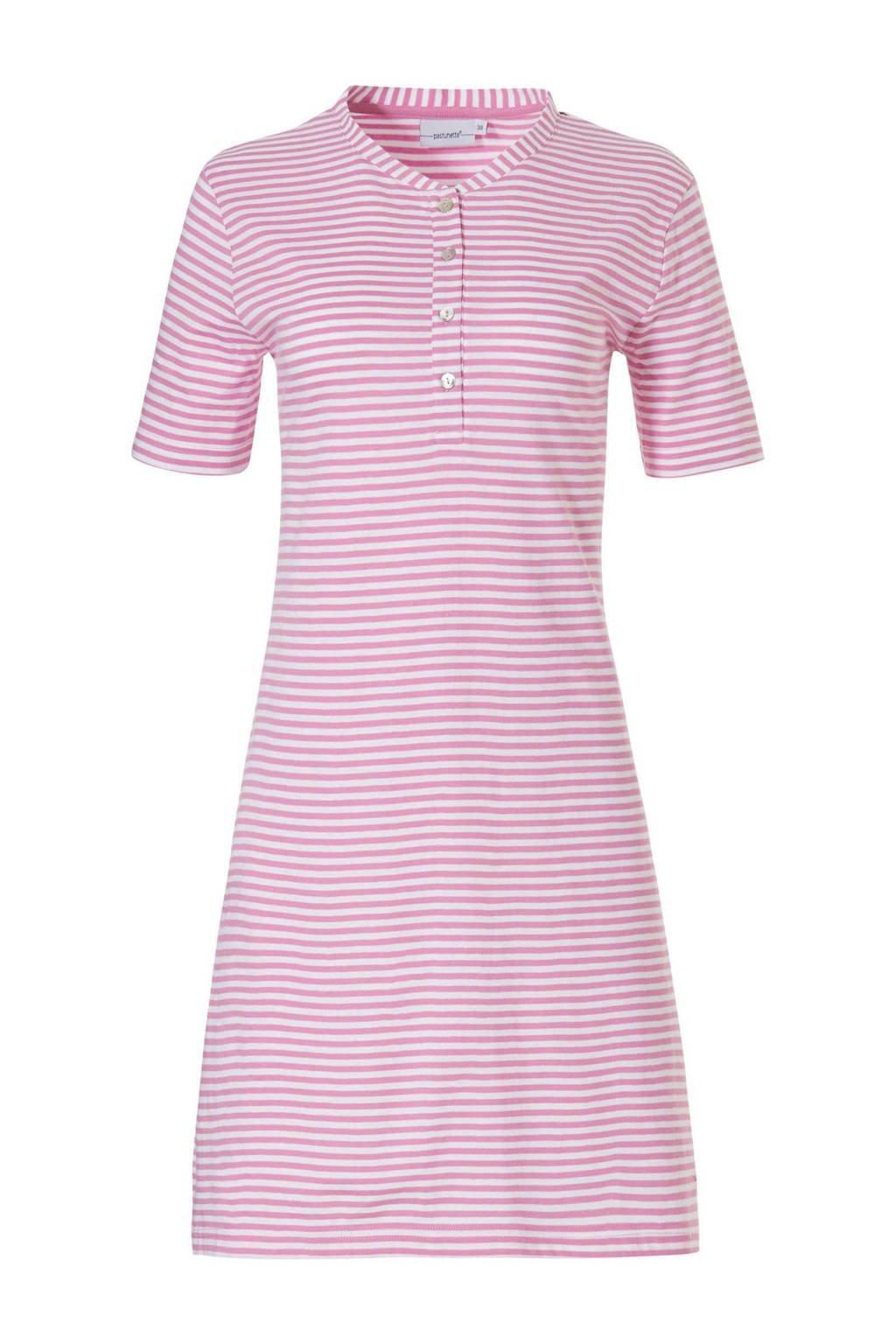 Pastunette gestreept nachthemd roze/wit, Roze/wit