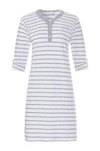 Pastunette gestreept nachthemd grijs/wit, Grijs/wit