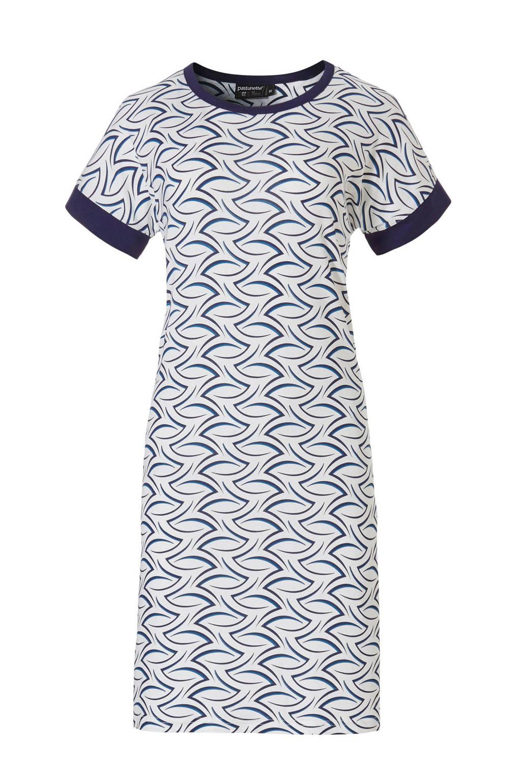 Pastunette Deluxe nachthemd met all over print wit/donkerblauw/wit, Wit/donkerblauw/wit