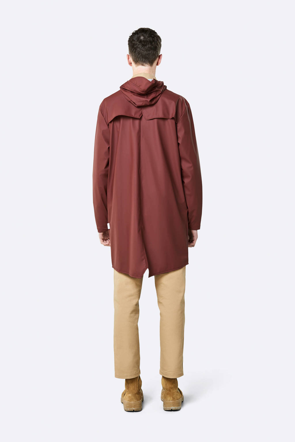 Rains Long Jacket regenjas donkerrood, Donkerrood
