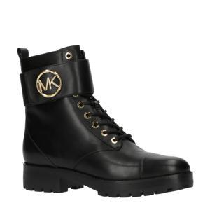 Tatum Ankle Boot  leren veterboots zwart
