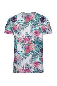 JACK & JONES ORIGINALS gebloemd T-shirt wit/roze/groen, Wit/roze/groen
