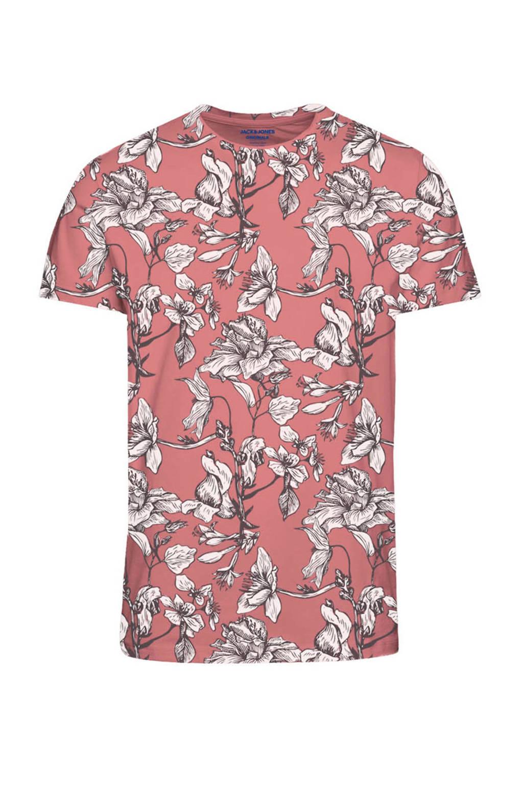 JACK & JONES ORIGINALS gebloemd T-shirt oudroze, Roze
