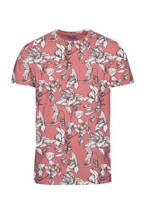 gebloemd T-shirt oudroze