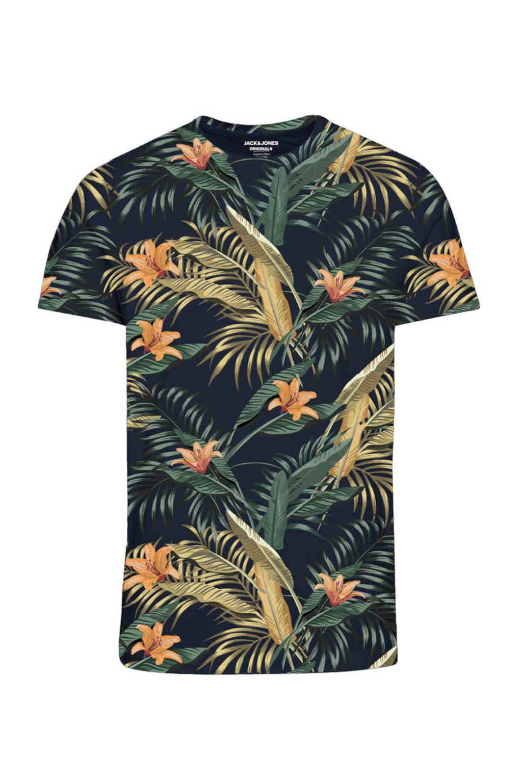 JACK & JONES ORIGINALS gebloemd T-shirt donkerblauw/geel/oranje