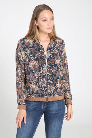 semi-transparant jasje met all over print en glitters donkerblauw/bruin/ecru