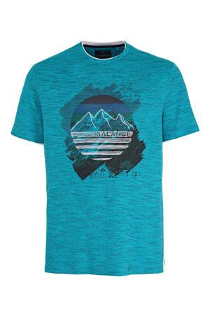 T-shirt met printopdruk turquoise