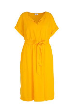 jurk met linnen geel