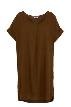 jurk met linnen bruin