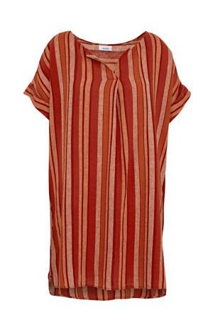 jurk met linnen rood/oranje