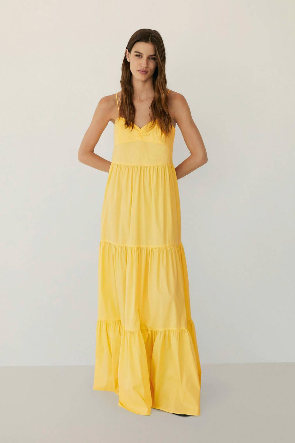 Mango maxi jurk met volant geel, Geel