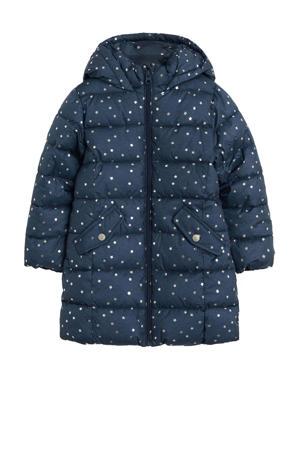 gewatteerde winterjas met sterren blauw