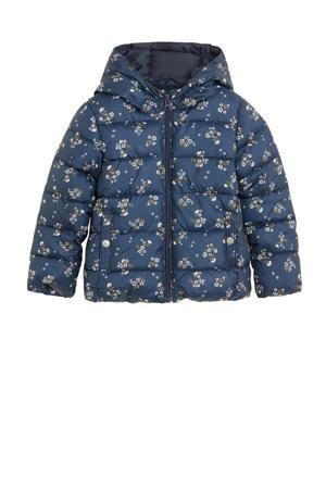 gebloemde gewatteerde winterjas donkerblauw