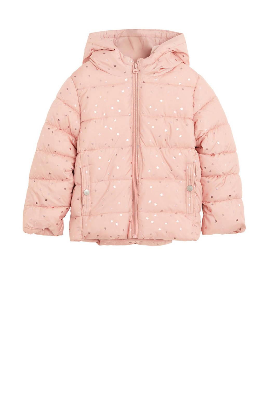 Mango Kids gewatteerde winterjas met sterren roze, Roze