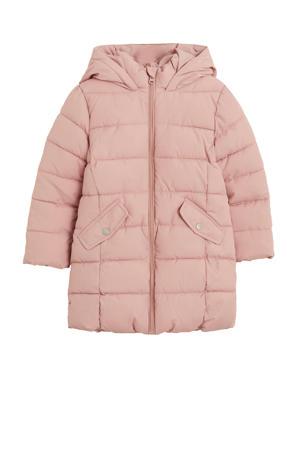 gewatteerde winterjas roze