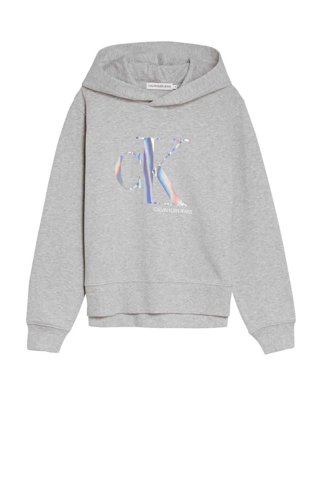 CALVIN KLEIN JEANS hoodie met logo lichtgrijs melange/zilver, Lichtgrijs melange/zilver