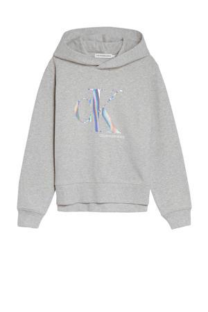 hoodie met logo lichtgrijs melange/zilver