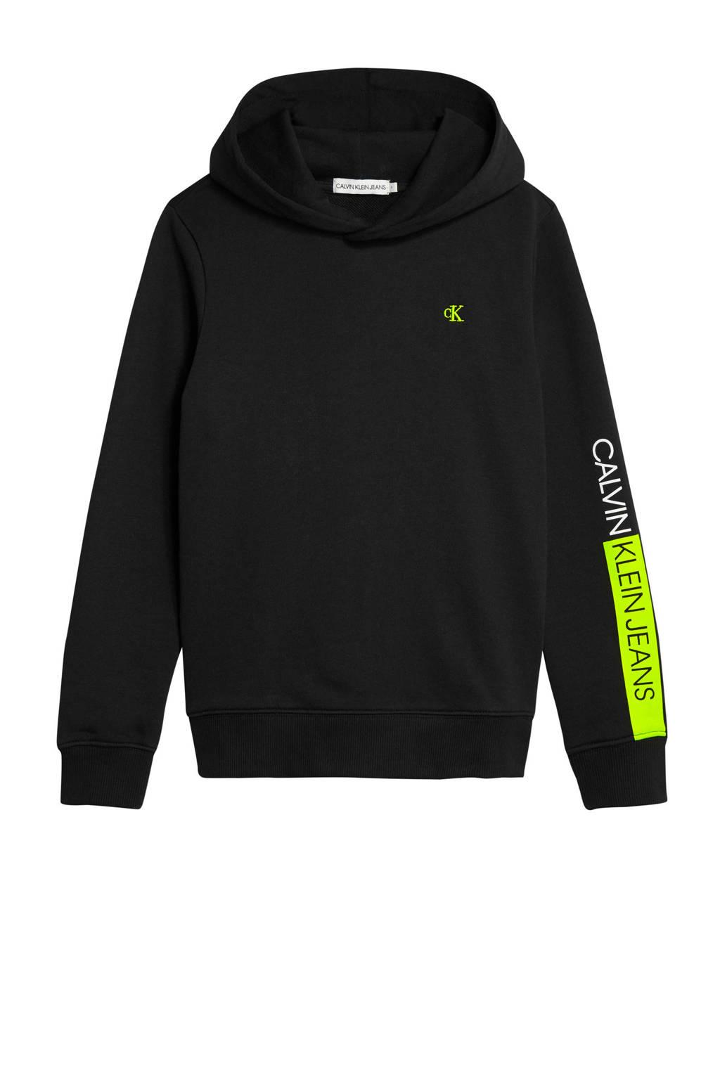 CALVIN KLEIN JEANS hoodie met logo en borduursels zwart/geel, Zwart/geel