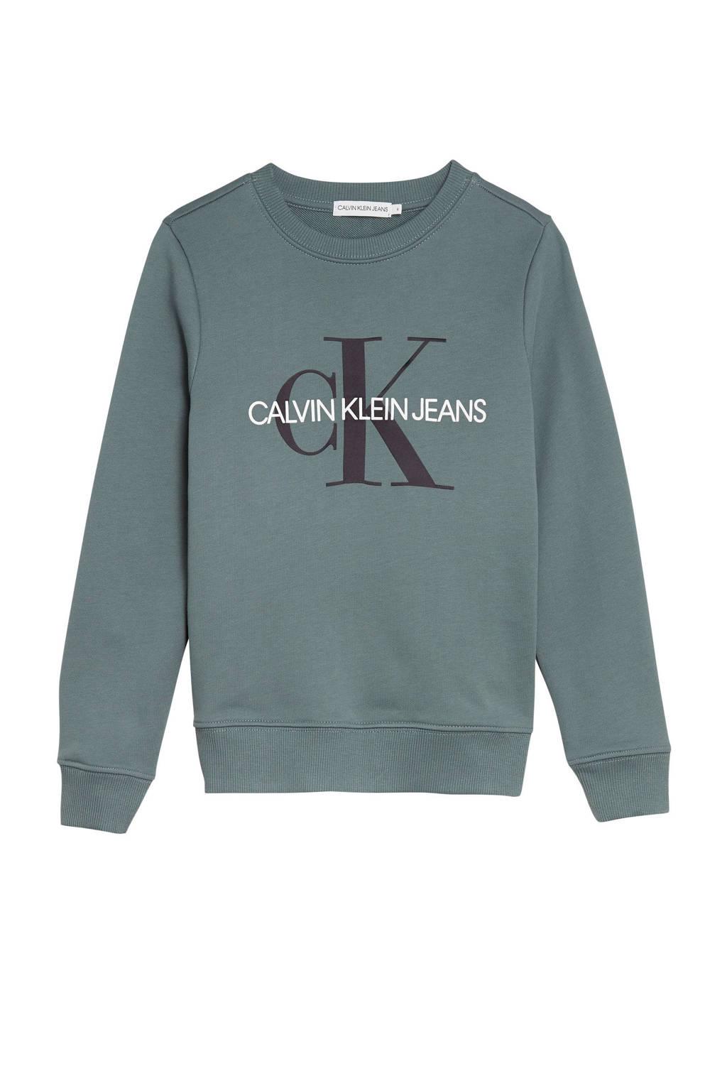 CALVIN KLEIN JEANS sweater met logo grijsblauw/zwart/wit, Grijsblauw/zwart/wit