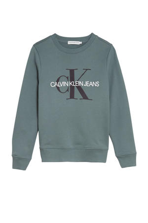 sweater met logo grijsblauw/zwart/wit