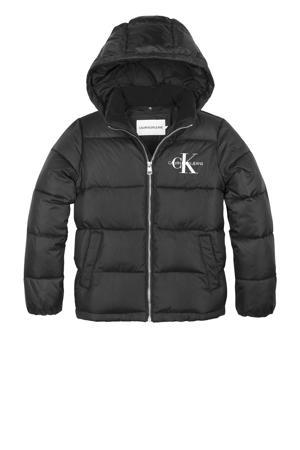 gewatteerde winterjas met logo zwart/wit