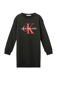 CALVIN KLEIN JEANS sweatjurk van biologisch katoen zwart/rood/wit, Zwart/rood/wit