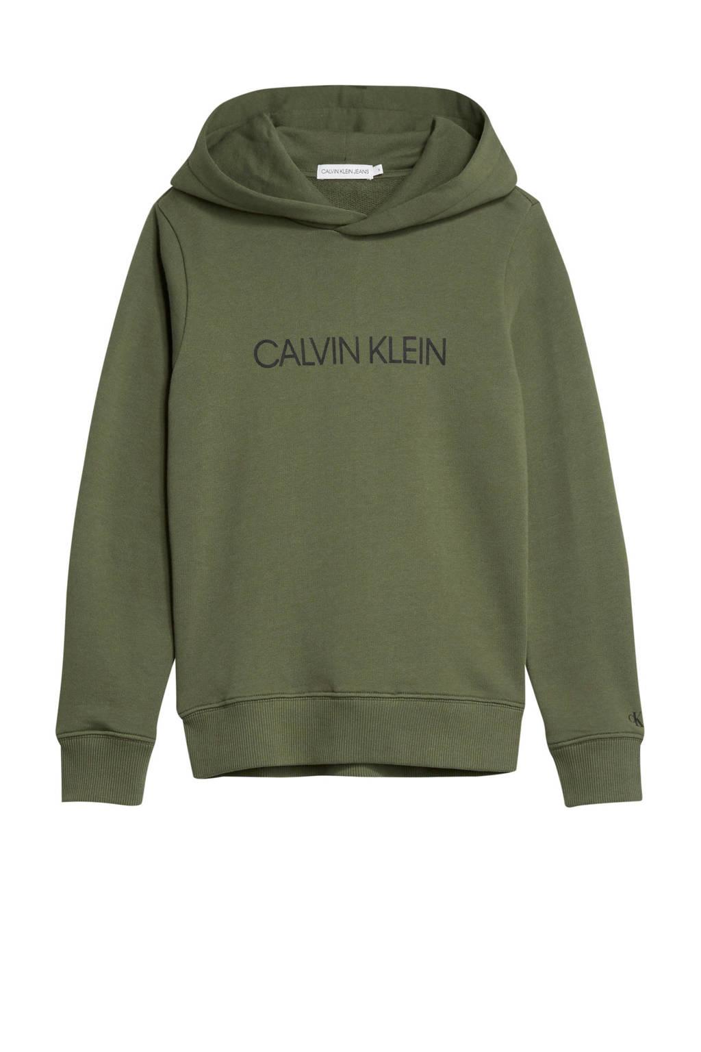CALVIN KLEIN JEANS hoodie met logo olijfgroen/zwart, Olijfgroen/zwart