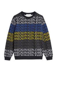 CALVIN KLEIN JEANS sweater met tekst zwart/geel/blauw, Zwart/geel/blauw