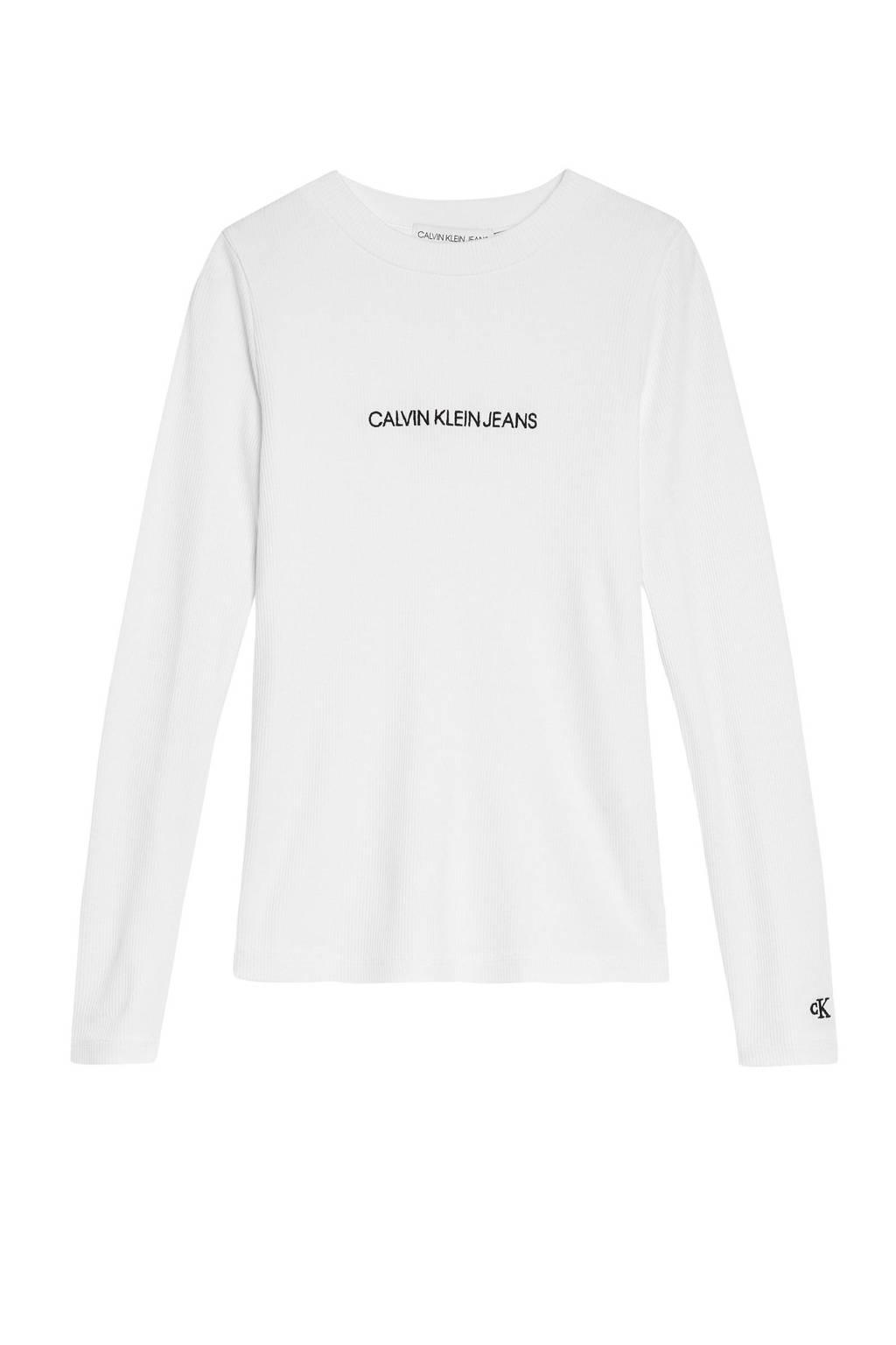 CALVIN KLEIN JEANS longsleeve met logo wit/zwart, Wit/zwart
