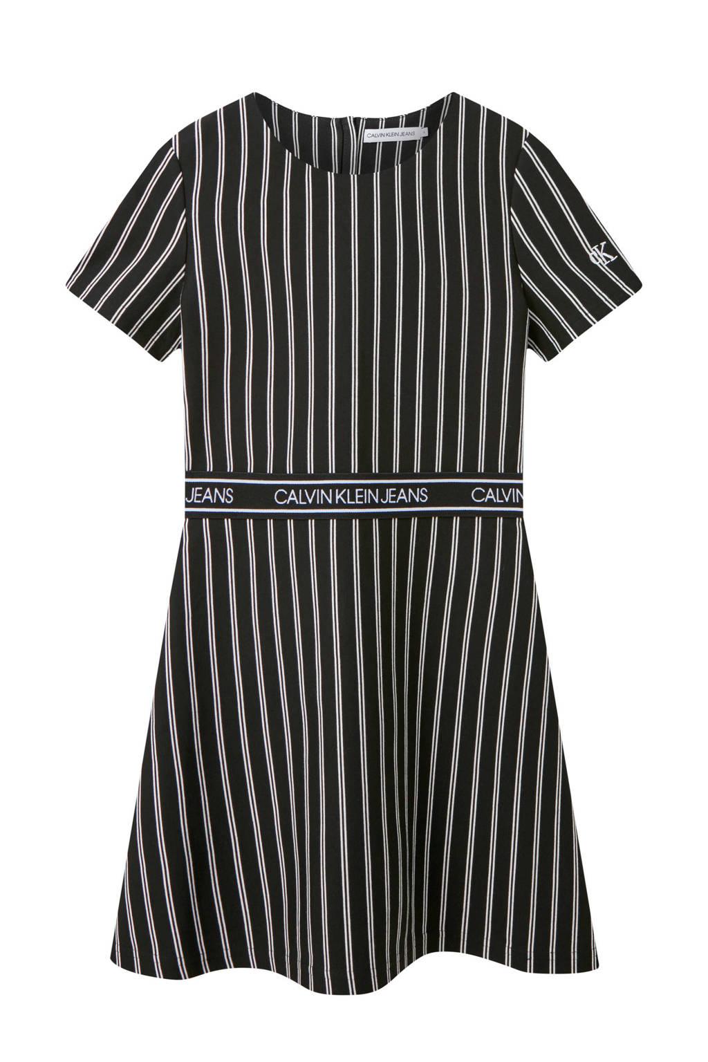 CALVIN KLEIN JEANS gestreepte A-lijn jurk zwart/wit, Zwart/wit