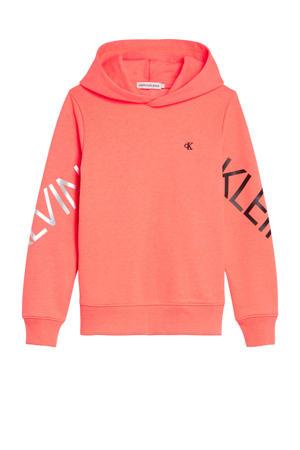 hoodie met logo koraalrood
