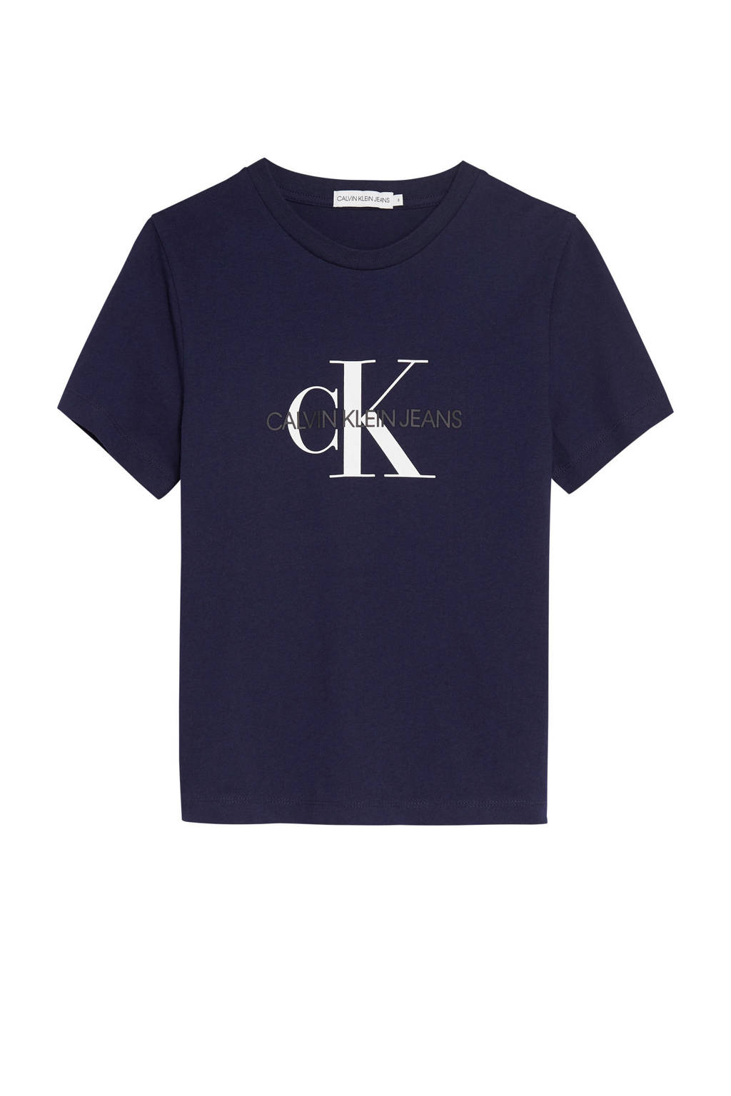CALVIN KLEIN JEANS T-shirt van biologisch katoen donkerblauw/zwart/wit, Donkerblauw/zwart/wit