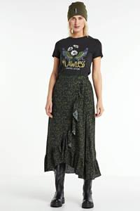 anytime wikkellook rok met ruch en bloemenprint zwart, Zwart/groen