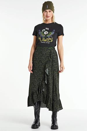 wikkellook rok met ruch en bloemenprint zwart