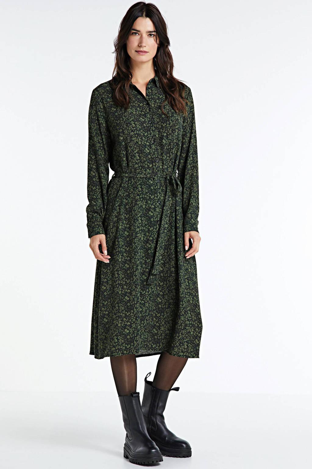 anytime blousejurk met bloemenprint zwart, Zwart/groen