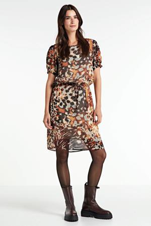 jurk met all over print oranje/ecru