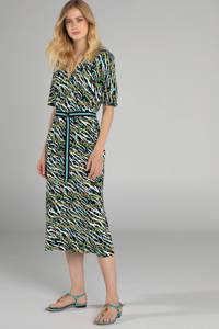 Claudia Sträter jurk met zebraprint groen, Groen