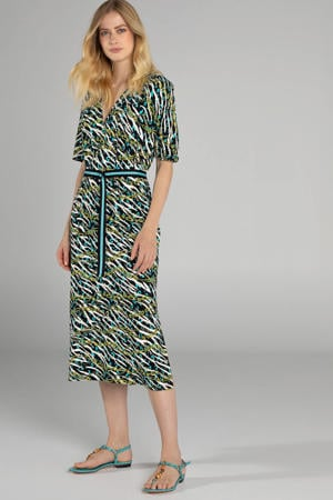 jurk met zebraprint groen