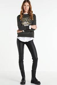 FREEQUENT coated high waist skinny broek Aida zwart, Zwart