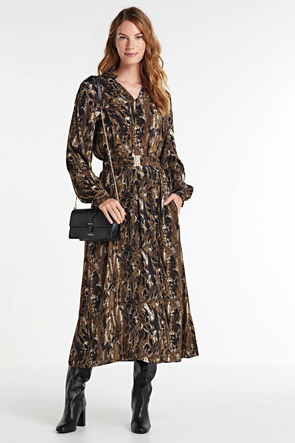 FREEQUENT maxi jurk met all over print en ceintuur bruin, Olijfgroen