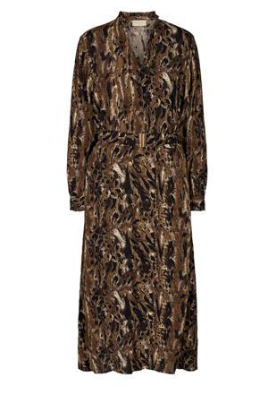 maxi jurk met all over print en ceintuur bruin