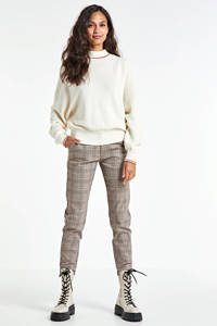 FREEQUENT geruite cropped slim fit pantalon beige/zwart/rood, Groen