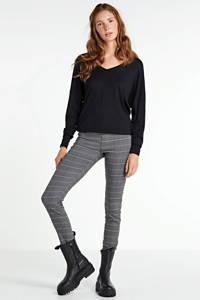 FREEQUENT geruite high waist skinny tregging Shantal grijs/zwart/wit, Zwart