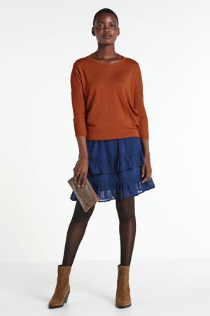 gebloemde rok blauw/zwart/oranje