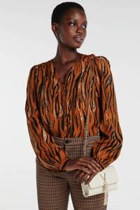 FREEQUENT blouse Zim met all over print bruin/zwart, Bruin