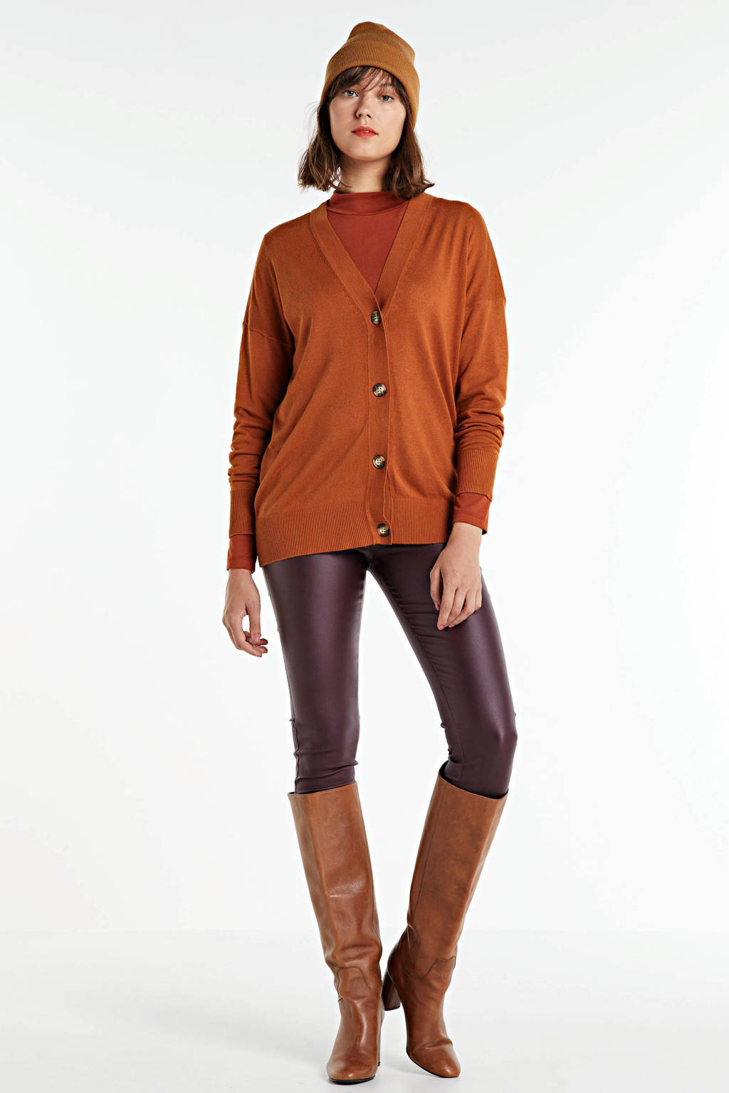 FREEQUENT coated high waist skinny tregging bordeaux, Groen