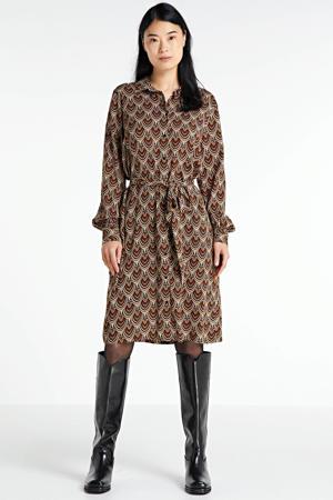 blousejurk Sari met all over print en ceintuur beige/bruin/zwart