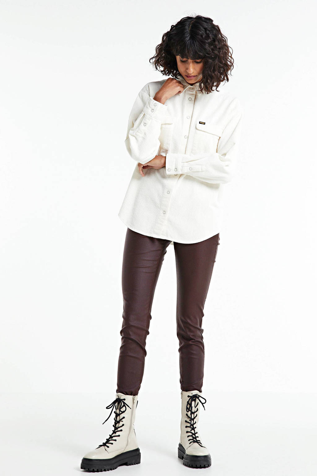 FREEQUENT coated high waist skinny tregging bruin, Bruin
